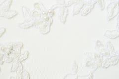 Closeup of white wedding lace stock photo
