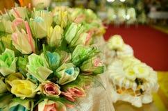 Closeup white and yellow Sandalwood flowers for a funeral ceremo. Closeup white and yellow Sandalwood flowers for a funeral Thailand local ceremony royalty free stock photos