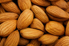 Closeup of whole almond nuts Royalty Free Stock Photos
