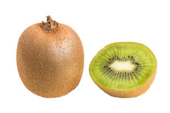 Closeup of a whole and half kiwifruits Stock Images