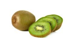 Closeup whole and sliced kiwi fruit on white Royalty Free Stock Photo