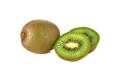 Closeup whole and sliced kiwi fruit on white Royalty Free Stock Photo