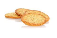 Closeup whole wheat crackers Royalty Free Stock Images