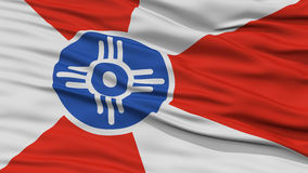 Closeup of Wichita City Flag. Waving in the Wind, Kansas State, United States of America Stock Photography
