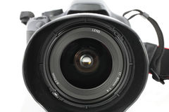 Closeup of wide angle zoom lens on camera Royalty Free Stock Photos