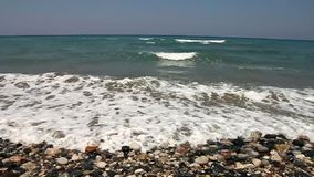 Wild beach closeup. Closeup of wild beach in Rhodes island stock video footage