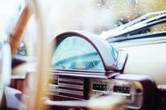 Closeup windshield in the rain Volga car Stock Images
