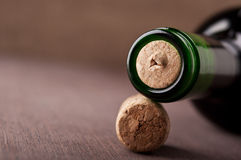 Closeup of wine bottle Stock Images