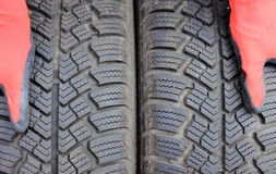 Closeup of winter car tire Royalty Free Stock Image