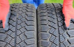 Closeup of winter car tire Royalty Free Stock Photos