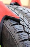 Closeup of winter car tire Stock Images