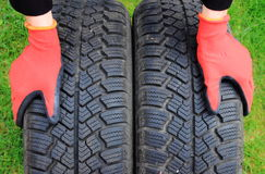 Closeup of winter car tire Royalty Free Stock Image