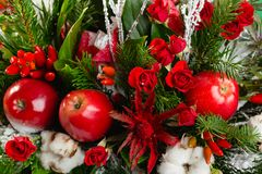Closeup winter Christmas bouquet in green and red colors stock photos