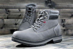 Closeup of winter men`s shoes. Royalty Free Stock Photo