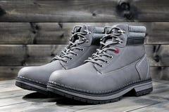 Closeup of winter men`s shoes. Stock Image