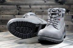 Closeup of winter men`s shoes. Stock Images