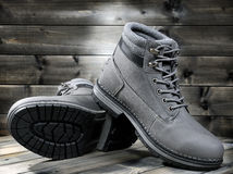 Closeup of winter men`s shoes. Royalty Free Stock Photography