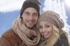 Closeup winter portrait of loving couple Stock Images