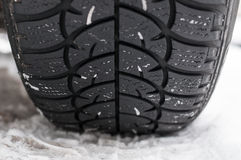 Closeup of Winter tyre on the road Stock Photos