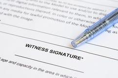Closeup of witness signature area on a document Stock Photo
