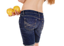 Closeup of woman with apples. Royalty Free Stock Image