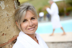 Closeup of woman in bathrobe with bathrobe Royalty Free Stock Photography
