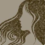 Closeup woman with beautiful hair. Closeup decorative vintage grunge woman with beautiful hair Royalty Free Stock Images