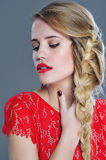 Closeup woman beauty portrait with red lipstick Stock Image