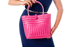 Closeup woman in blue dress with bright tote bag.Isolated. Stock Photo