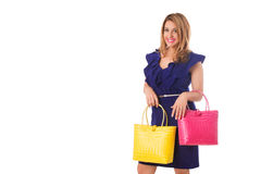 Closeup woman in blue dress with bright tote bag.Isolated. Royalty Free Stock Photography