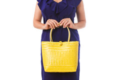 Closeup woman in blue dress with bright tote bag.Isolated. Stock Photography