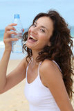CLoseup of woman with bottle of water Royalty Free Stock Image
