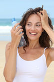 CLoseup of woman with bottle of water Royalty Free Stock Photos