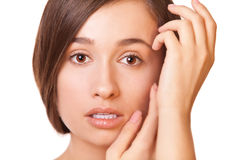 Closeup woman with clean skin Stock Photos