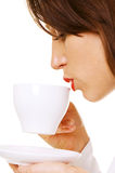 Closeup of woman with coffee Royalty Free Stock Photos