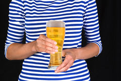 Closeup Woman With Cold Glass of Beer Royalty Free Stock Images