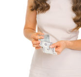 Closeup on woman counting dollars Stock Photos
