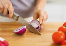 Closeup on woman cutting onion on cutting board Royalty Free Stock Images
