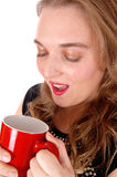 Closeup of woman drinking coffee. Stock Photos