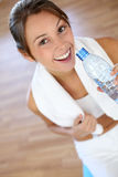 Closeup of woman drinking water Stock Photos