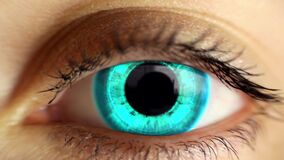 Closeup woman eye technology effect green screen animation zoom in