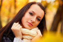 Closeup woman face in autmn park Royalty Free Stock Image