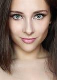 Closeup woman face with beautiful makeup Stock Photo