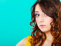 Closeup woman face long curly hair portrait Royalty Free Stock Photography