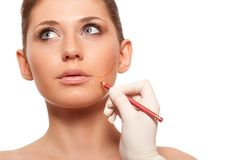 Closeup woman face with surgery mark Royalty Free Stock Image