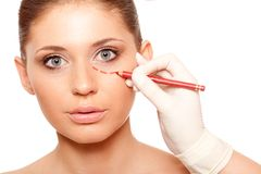 Closeup woman face with surgery mark Royalty Free Stock Photo