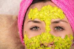 Closeup woman facial treatment spa Stock Photos