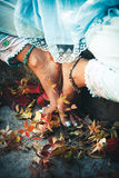 Closeup of woman feet in yoga position outdoor Royalty Free Stock Photo