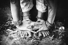 Closeup of woman feet in yoga position outdoor Stock Photos