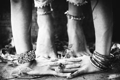 Closeup of woman feet in yoga position outdoor Royalty Free Stock Photography